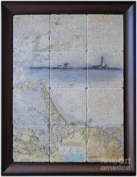 Framed Nautical Chart Of Hingham And Hull With Boston Light