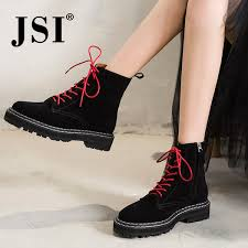 <b>JSI</b> Winter <b>Ankle Women Boots</b> Solid Cow Suede Zip Square Heel ...