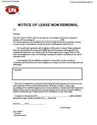 tenant renewal letter notice of lease non renewal