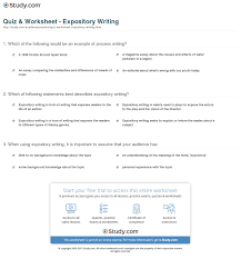 quiz worksheet expository writing com definition examples worksheet