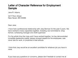 Recommendation Letter For Employment Delectable Letter Of Character Reference