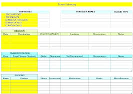 Travel Plan Template Excel Co Itinerary Free Templates Download Best