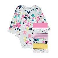 <b>White Floral Print</b> Long Sleeve Bodysuits 7 Pack | Baby | George