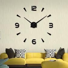 modern large 3d mirror surface wall clock sticker home office room diy decor
