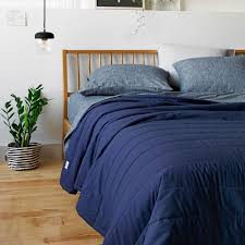 L&E Solid Navy/Gray Reversible Quilt Queen | Unison & SHARE YOUR STYLE OR SHOP THE LOOK #UNISONHOME Upload Adamdwight.com