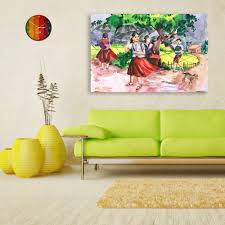 canvas painting indian village tribal art wall painting for living room bedroom