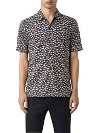 AllSaints Salix <b>Summer Print Short Sleeve</b> Shirt, Washed Black at ...