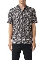 AllSaints Salix <b>Summer Print Short Sleeve</b> Shirt, Washed Black at ...