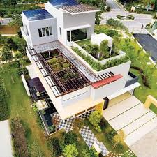 Tropical House Design with Cool Rooftop Garden and Canopy - Setia Eco Park  Villa by TWS & Partners - DigsDigs