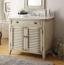 36 Inch Bathroom Vanity Louvered Shutter Doors Distressed Beige 36 Wx21 5 Dx34 H Ccf28324
