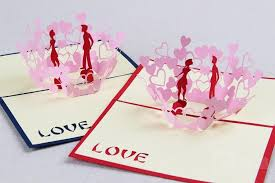 3d Red Valentines Day Cards Paper Fold Greeting Laser Card Wedding