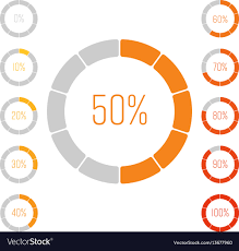 50 Percent Pie Chart Set Of Ring Pie Charts With Percentage Value