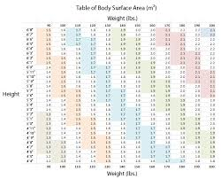 Bsa Chart Body Surface Area Chart With Photos