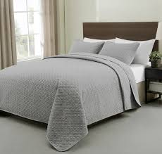 Allyson 3 Piece Quilted Coverlet/Bedspread Set Grey Color Light ... & Allyson 3 Piece Quilted Coverlet/Bedspread Set Grey Color Light Weight and  Over-sized ... Adamdwight.com
