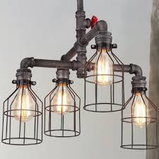 brushed iron 4 lights cage led chandelier 22 wide