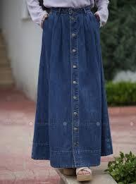 Fashion Design Skirt Blue Unlined Cotton Denim Skirt