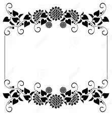 黒と白の装飾的なヒマワリのシルエットと水平フレームベクター クリップ アート
