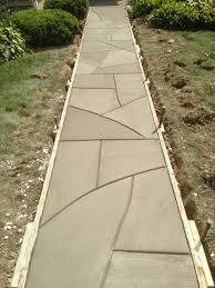 Concrete Path Designs Random Hand Jointed Sidewalk With A Flag Stone Design
