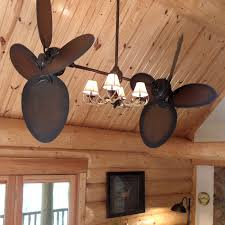 twin star iii ceiling fan rustic edition with antler light