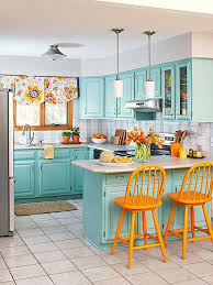 colorful kitchen ideas. Tiffany Blue \u0026 Tangerine, Small But Efficient Kitchen Colorful Ideas