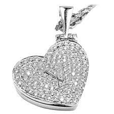 louis vuitton diamond heart locket white gold pendant necklace for