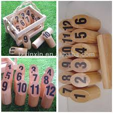 Lawn Game With Wooden Blocks Outdoor Wooden Molkky Game Set With NumbersOutdoor Bowling Games 18