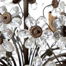 vintage six light bronze crystal flower chandelier from maison baguès 5