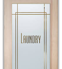 laundry room door with frosted glass