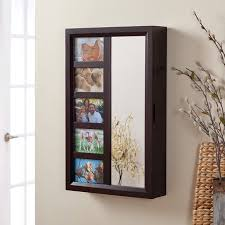 wall mount jewelry armoire mirror. Photo Frames Wall Mount Jewelry Armoire Mirror - Espresso 16W X 24H In.