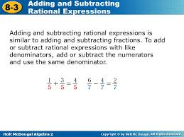 adding subtracting rational expressions like objectives add and subtract rational expressions ppt video