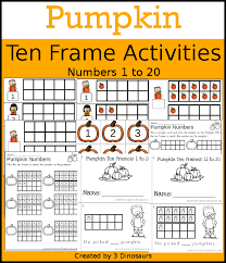 pumpkin themed ten frame set 4 sets of number cards hands on and