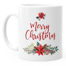 Tasse Weihnachten Traditionell Merry Christmas Blumen