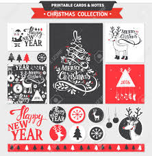 Hipster New Year And Merry Christmas Set Vector Printable Cards