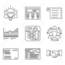 開発プロセス商品の作成および販売促進ツールウェブサイトのネットワーク最適化チーム作業のアイコン