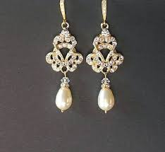 gold pearl chandelier earrings gold vintage wedding earrings gold pearl drop earring bridal earrings rose gold