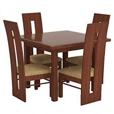 funterior clical finish teak wood 4 seater dining table cream