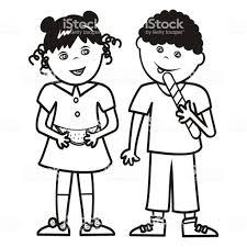 女の子とメロンとロリポップ男の子の塗り絵 2人のベクターアート素材や