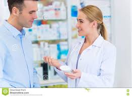 Pharmacist Consultant Pharmacist And Client At Pharmacy Stock Image Image Of Consultant