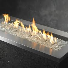 key largo linear gas fire pit stainless steel linear burner w manual spark ignition add glass guard clear gem glass