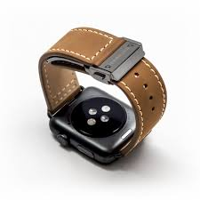 monowear leather band with a closing clasp for apple watch brown dark gray 42 44 mm