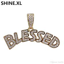 whole custom letter blessed pendant necklace gold silver iced out full lab diamond hip hop jewelry for men women pendants necklaces gold pendant