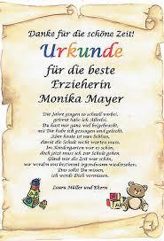 Urkunde Abschied Kindergarten Erzieherin Danksagung Persönliches