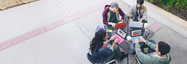 google office pictures. four students sitting at a table outside using office 365 for education on tablets google pictures e