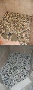 river rock shower floor project