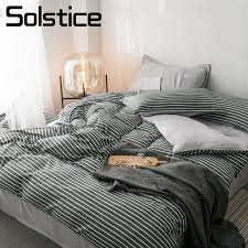 solstice home textile duvet cover pillowcase flat sheet gray stripe nordic simple bedding set teen