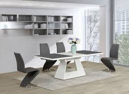 white glass high gloss extending dining table and grey z chairs set modern wood teetotal contemporary kitchen tables designer tea best design round coffee