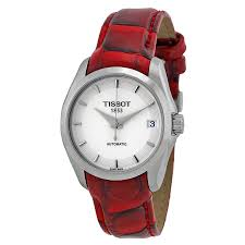tissot couturier white dial red leather las watch t035 207 16 011 01