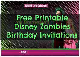 Free Printable Disney Zombies Birthday Party Invitations Birthday