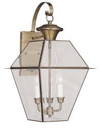 livex lighting 2381 westover 3 light outdoor wall lantern shown in antique brass