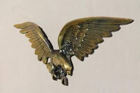 large cast metal american federal eagle wall hanging plaque w antique gold finish